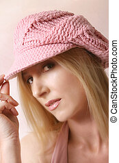Pink Beret - Girl looks out from under her cap