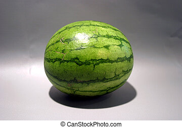 Watermelon #1 - A small watermelon sits on a gray background...