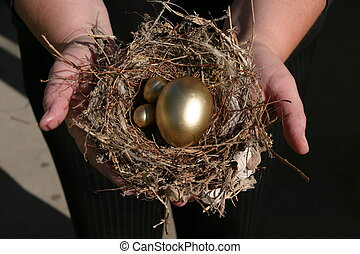 Nest Egg #1 - hands holding a real bird nest with golden...