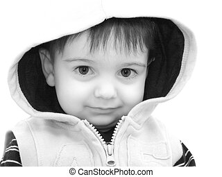 Toddler Boy Child - Black and white of boy in hooded jacket.