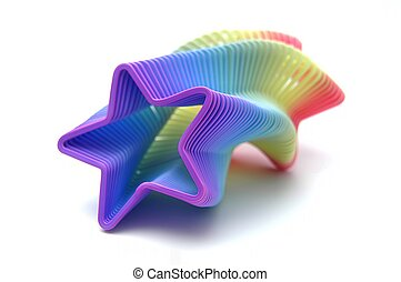 Slinky - Star-shaped, rainbow-colored slinky isolated on...