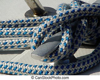 anchored - rope on a sailing boat