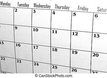 calendar showing days of week