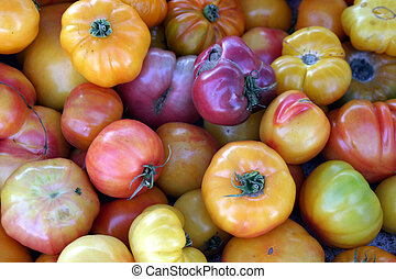 farmers market #9 - various types of heirloom tomatoes piled...