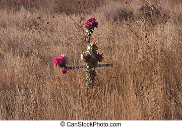 Roadside cross marking traffic fatality, Kansas