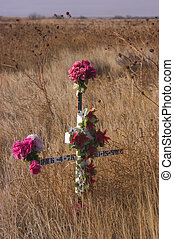 Roadside cross - Roadside cross marking traffic fatality,...