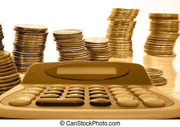 Calculator & Coins <P> calculator, coins, money, gold,...