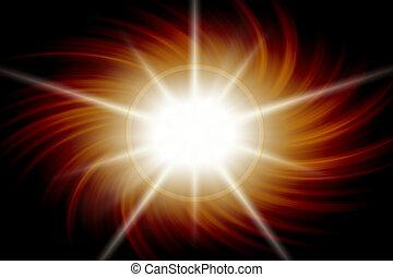 Flare Burst - Orange and white flare burst on black.