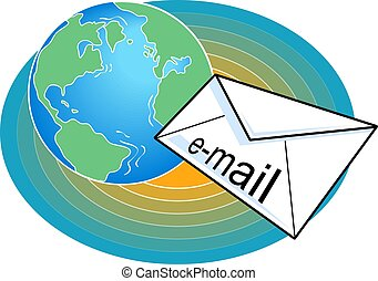 Email being delivered around the globe.