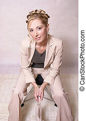 Fashion Style - Woman in beige suit