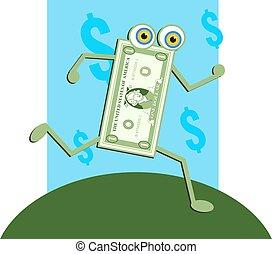 Dollar Bill - A dollar character on the run.