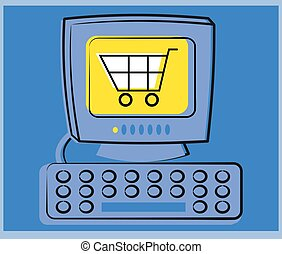 eCommerce shopping cart on the computer.
