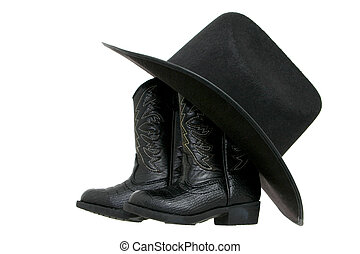 Boots & Hat - Set of toddler boots and a black fetl hat...