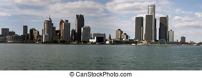 Downtown Detroit - Panorama of Detroit skyline