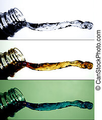 Water splash 4 - Water splash - bottle and water drops in a...