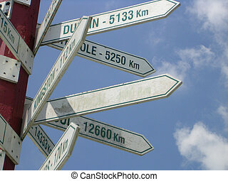 Blank Signpost - A blank sign surrounded by other signs...