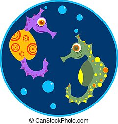 Sea Horses - Cartoon sea horses