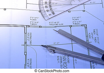 Home Plans - Photo of Plans and Drafting Related Items.