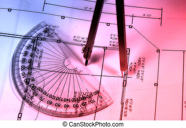 Abstract Drafting - Photo of Drafting Tools and Plans With...