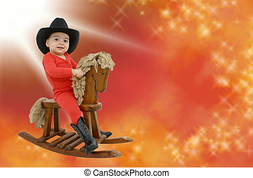 Cowboy Baby - Adorable toddler boy in red long-johns and a...