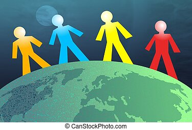 Globe Men - Coloured men around the globe. Concept...
