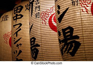Japanese Lanterns - Japanese lanterns with Kanji characters...