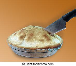 Apple Pie - cutting  an apple pie