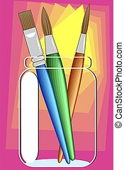 Paint Brushes - Fine art paint brushes in a jar