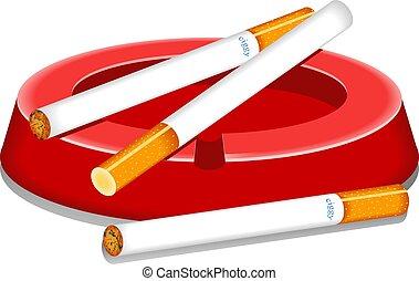 Cigarettes and ashtray design.