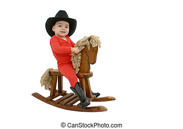 Cowboy Baby - Adorable child in red long-johns and a black...