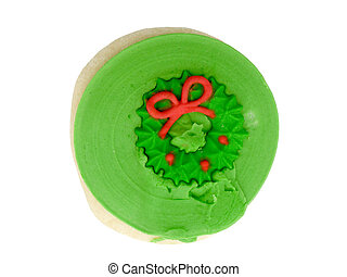 Green Cookie - Sugar cookie with green icing and red...