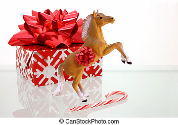 Christmas Collection - Red and Silver wrapped present, toy...