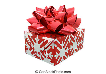 Red Bow Gift - Christmas present decorated in red and silver...