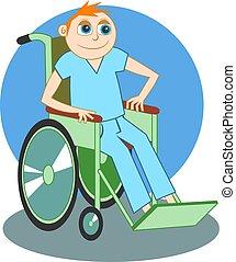 Wheelchair - Sick boy in wheelchair design.