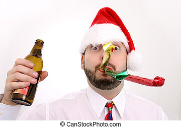 Office Party - Man with an empty bottle of beer, santa hat...
