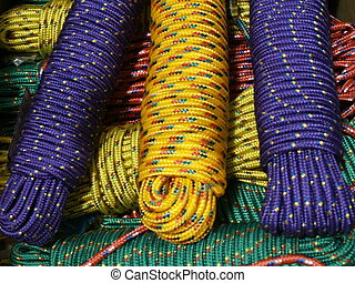 Nylon Ropes - bunch of nylon ropes tied and in a barrel