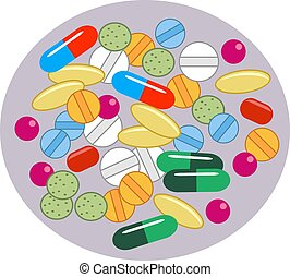 Vitamin Pills - Drugs in different shapes, sizes and...