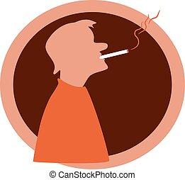 Smoker - Silhouette of a smoker.