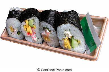 Japanese rice roll - Some rice rolls with vegetables,eggs...