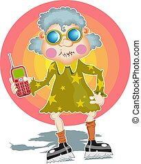 Groovy Granny - Granny with a mobile phone