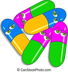 Drug Capsules - Drug capsules with eyes.