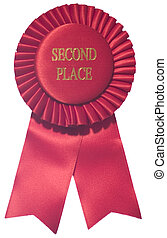 Second Place - A red, second place, ribbon.