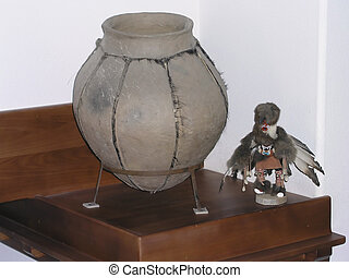 Pot Shelf - Indian pot and kachina doll in a pot shelf...
