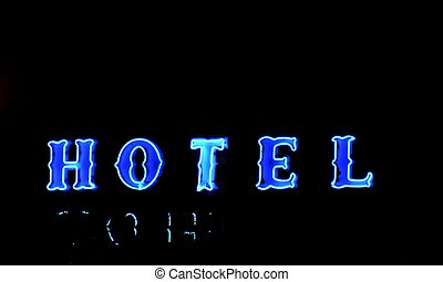 Blue Hotel - Blue Neon Hotel sign