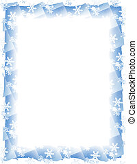 Snow Tile Border over White - Blue and white border over...