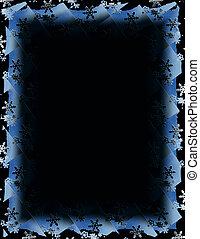 Snow Tile Border over Black - Blue and white border over...
