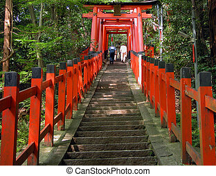 Inari shrine is a temple in Kyoto,where are tunnels made by...