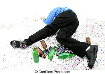 Office Party - Passed out party goer on the floor surrounded...