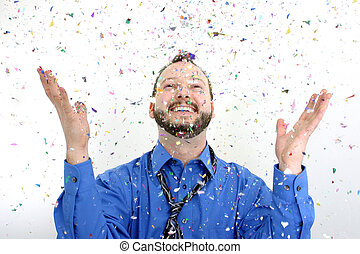 Office Party - Man throwing confetti into the air