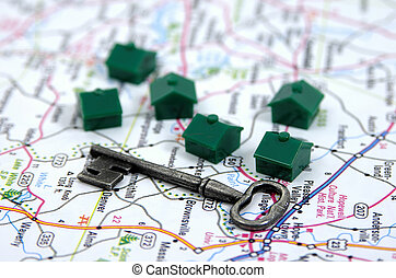 Real Estate 3 - Photo of a Key, Map and Houses